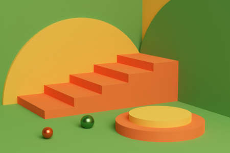 Colorful 3D illustration of orange stairs in a green interior