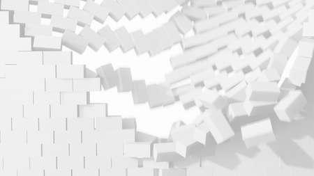 Falling white brick. 3D illustration Foto de archivo