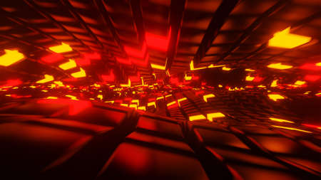 A twisting surface with lit cubes 3D render