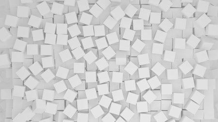 3D illustration of randomly arranged white cubes
