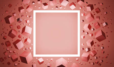 Abstract 3D illustration if a square frame with an empty space for a text