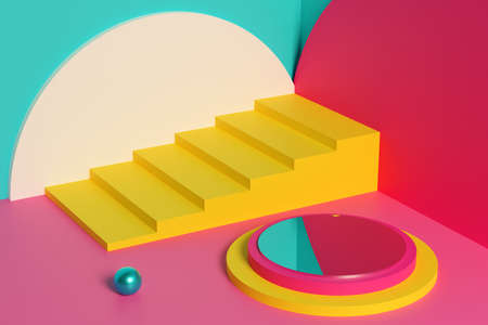 3D illustration of yellow stairs and an empty platform