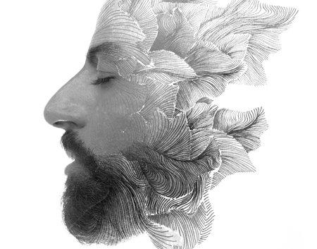 An appealing portrait of a bearded man Stockfoto