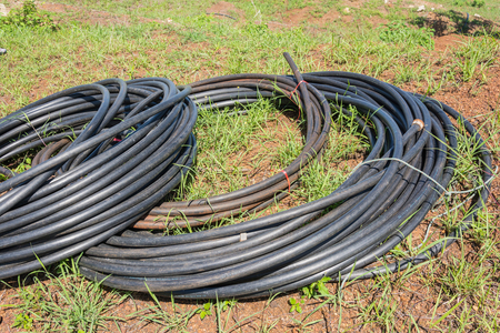 HDPE pipe for water supply. Stock Photo