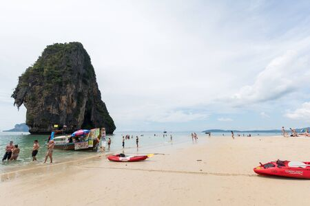railey: KRABI,THAILAND - JANUARY 20: Rai Lay beace on January 20,2016 in Krabi, Thailand. People relaxing on Rai Lay beach that is one of the most famous beach in the world.