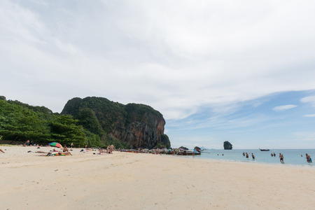 KRABI,THAILAND - JANUARY 20: Rai Lay beace on January 20,2016 in Krabi, Thailand. People relaxing on Rai Lay beach that is one of the most famous beach in the world.