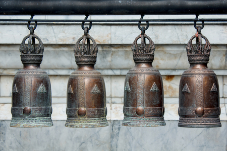 thai motifs: Bells made of copper Production in Thailand Beautiful art with motifs Thailand Stock Photo