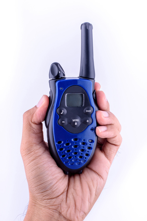Blue radio communication in hand.