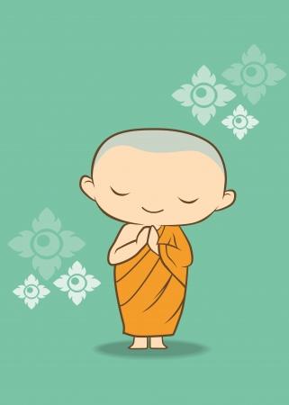 bouddhisme: Monk bande dessin�e tha�landais de la Tha�lande Illustration