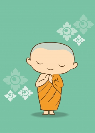 chinese buddha: Thai cartoon Monk of thailand  Illustration