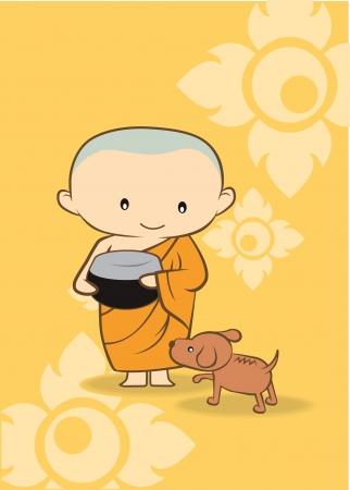 buddha tranquil: Thai cartoon Monk of thailand  yellow background