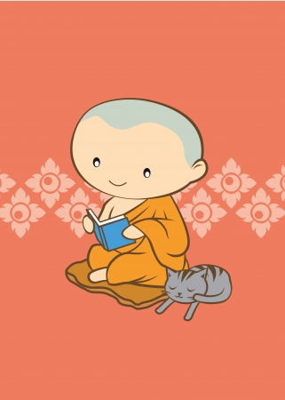 moine: Monk bande dessinée thaïlandais de la Thaïlande sur fond orange
