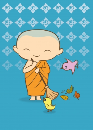 buddha tranquil: Thai cartoon Monk of thailand blue background Illustration