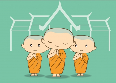Three monks with green background temple Vector