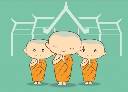 thai buddha: Tres monjes del templo con fondo verde