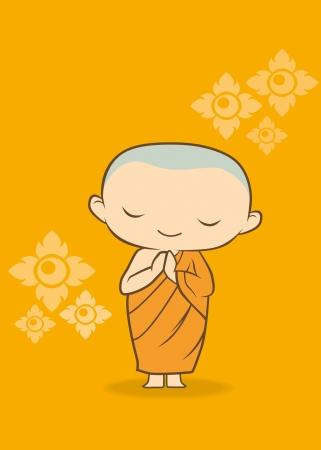 サワディー タイの僧侶漫画金黄色の花で