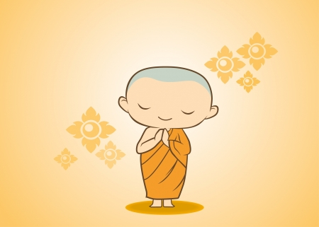 sawadee Thai Monk cartoon in yellow gold flower Stock Vector - 20772546