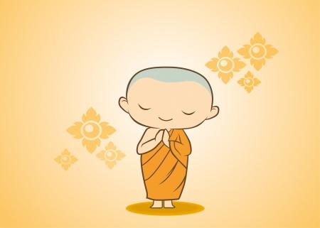monk: sawadee Thai Monk cartoon in yellow gold flower Illustration