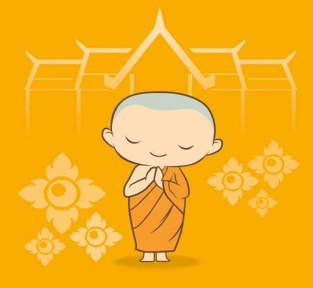 buddha tranquil: sawadee Thai Monk cartoon in yellow gold flower Illustration