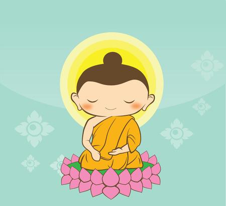 sol y luna: Cartoon Sithata Monk concentraci�n de fondo verde de Buda Jayanti