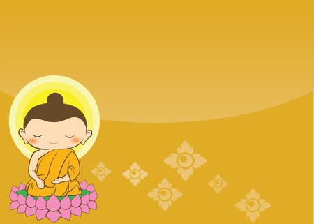 buddha lotus: Cartoon Sithata Monk concentration green background Buddha Jayanti