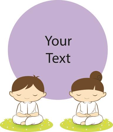 bouddha: Bouddha garçon et une fille de concentration avec le cercle violet Illustration