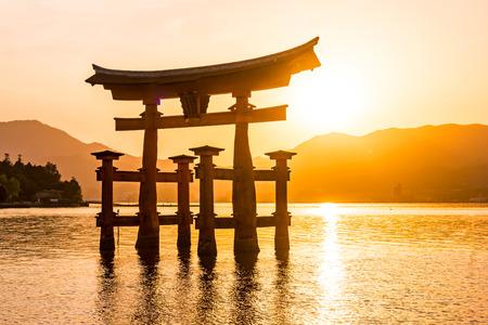 sunset with Japan gate O-Torii in Miyajima