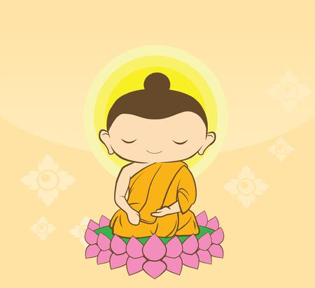 bouddha: Cartoon Sithata Monk concentration fond vert Bouddha Jayanti