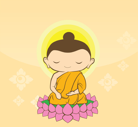 Cartoon Sithata Monk concentration green background Buddha Jayanti