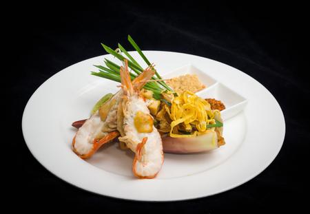 stir fry: Pad thai thai style stir fry noodle with prawn