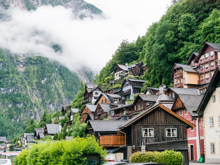 austrian village: Hallstatt by Salzburg, Austria, traditional austrian wood village, UNESCO world culture heritage site Editorial