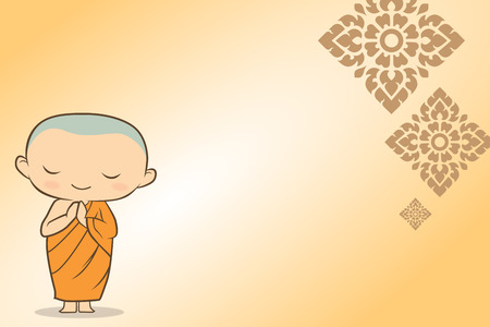 thai buddha monk cartoon 일러스트