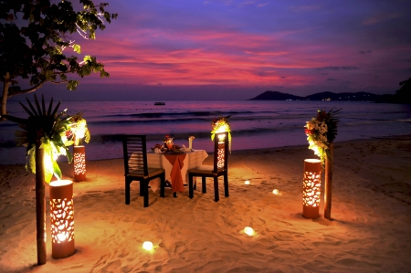 Romantic Beach Diner Stockfoto