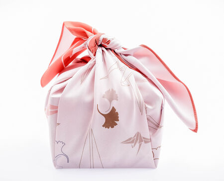 lunch box: Take away box with Japanese wrapping cloth , Furoshiki Stock Photo