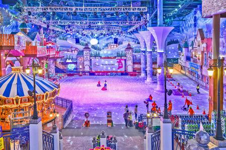 theme park: Onemount Snowpark is an indoor winter theme park Stock Photo