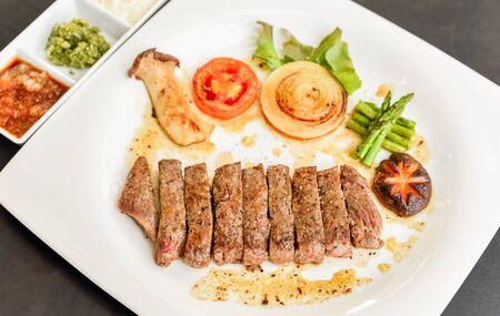 cook griddle: Kobe Miyazaki beef grill Stock Photo