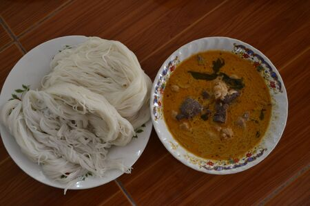 Thailand food chicken noodles solution  photo