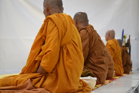 Buddhist monks in religious ceremonies  photo