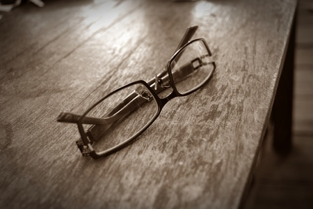 Glasses on the wooden table Stock Photo