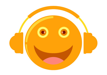 cartoon listening to music Vector