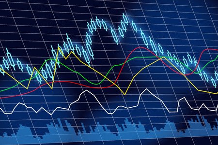 stock exchange brokers: stock exchange and financial graph Stock Photo