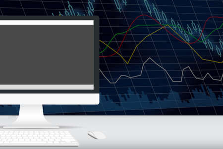 computer on the desk with stock exchange graph behind photo