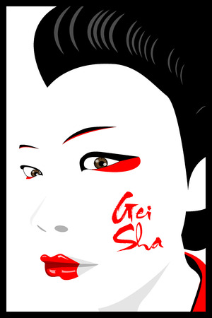 hair mask: Geisha the Japanese lady who expert in Japanese art specially tradition music and dance