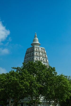 reproduce: Bodhgaya Pagoda reproduce at Wat Pairongwarw,Suphanburi,Thailand ,Asia