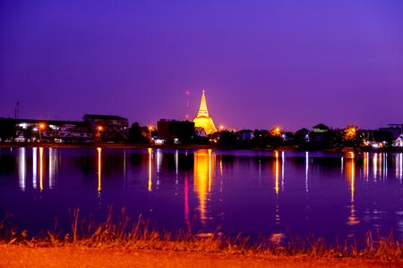 Phra Pathom Chedi Sanctuary is a vital part of Thailand, water refleg