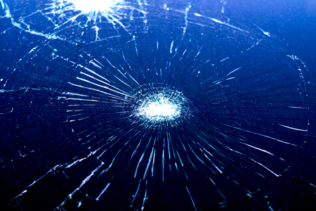 Crash windshield glass of car,the broken and damaged car