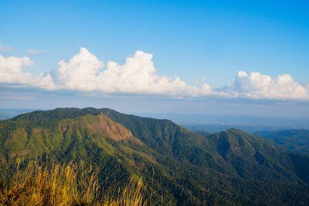 great smoky national park: sky clouds at mountain valley landscape, Khao Khieo Sun Nork Wua Mountain, Kanchanaburi Thailand Stock Photo