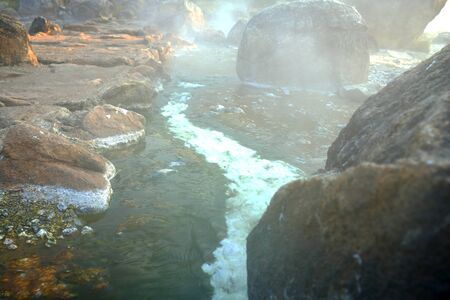 celcius: Flowing water from hot spring. Famous hot spring cave in Chae Sorn National Park Thailand has water above 85 degrees celcius