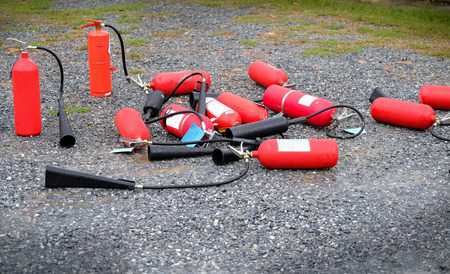 fire extinguisher on the ground.