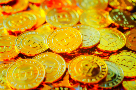 Stack of glod bitcoins with soft focus, Cryptocurrency concept. Virtual currency digital payment system Stock Photo